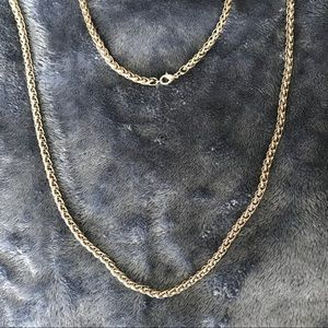 """VINTAGE 36"""" stainless steel wheat chain necklace"""